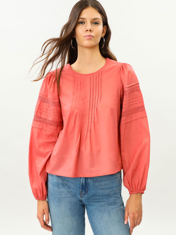 Blouse with long puff sleeves
