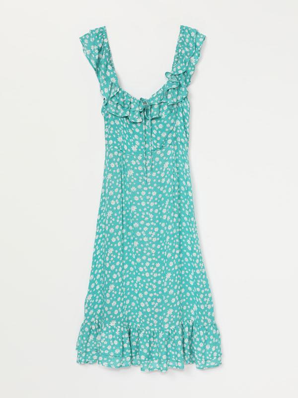 Midi dress with ruffles
