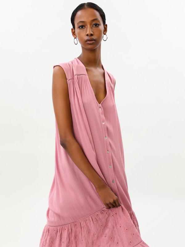 Embroidered oversize midi dress
