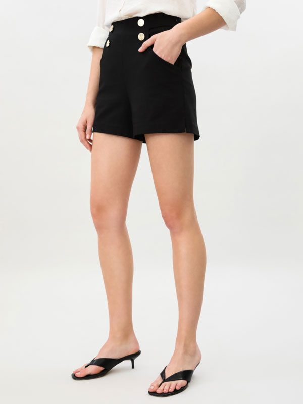 Shorts with metal buttons.