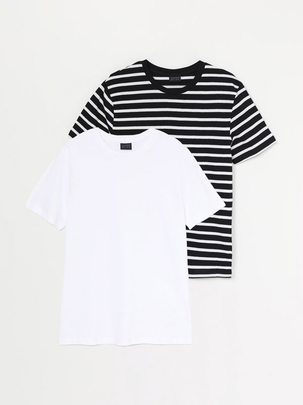 Pack of 2 Plain and Striped T-shirts