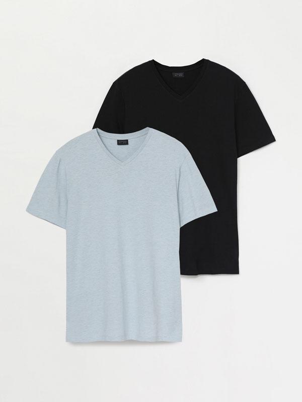 Paquet de 2 samarretes bàsiques amb coll en punta