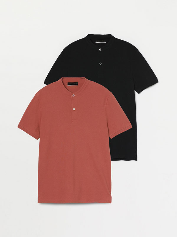 Pack of 2 stand-up collar polo shirts