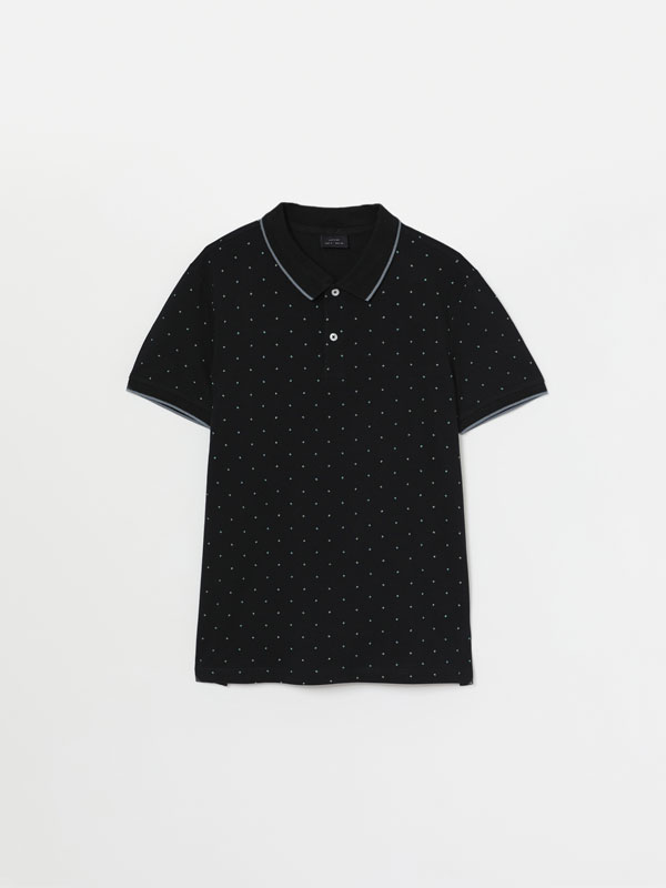 Micro print short sleeve polo