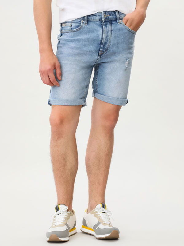 Comfort Slim ripped Bermuda shorts