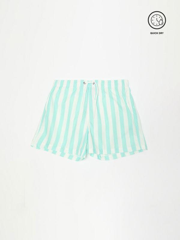 Striped swimming trunks