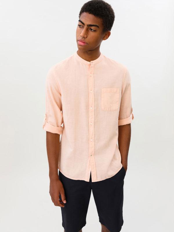 Camisa Lino-Algodón de Cuello Mao