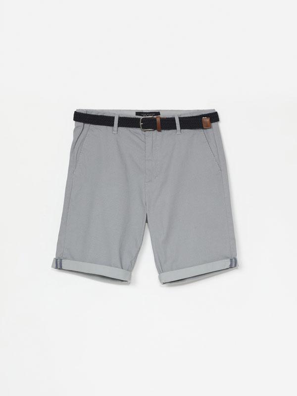Micro print Chino Bermuda shorts with belt