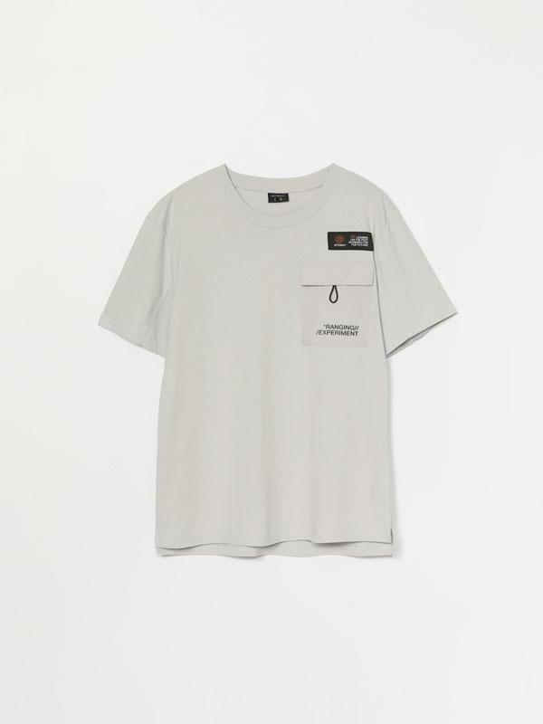 T-shirt with maxiprint and pocket