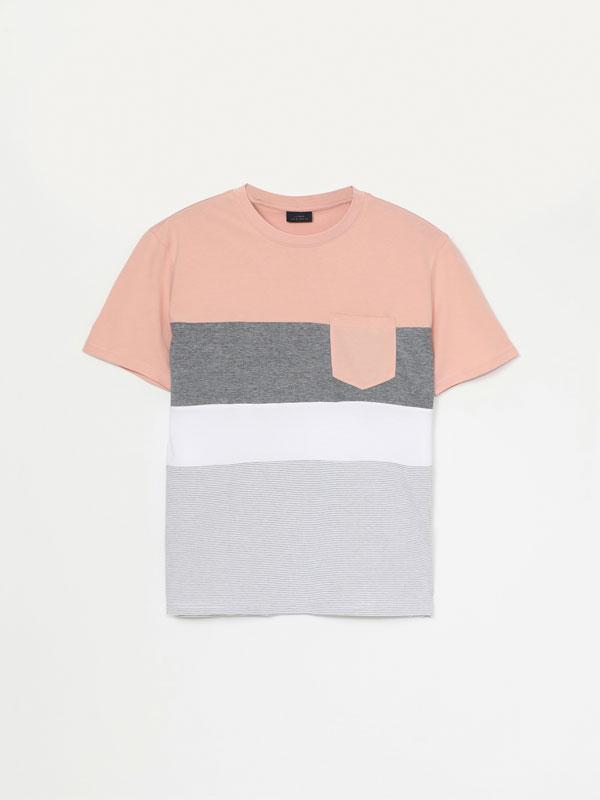 Textured colour block T-shirt
