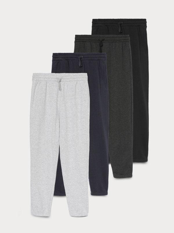 Pack de 4 pantalóns jogger básicos