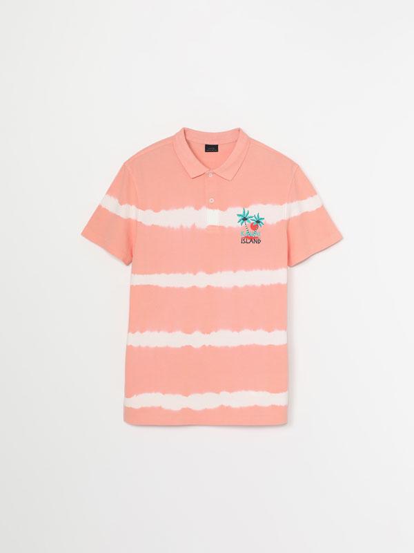 Tie-dye short-sleeve polo shirt
