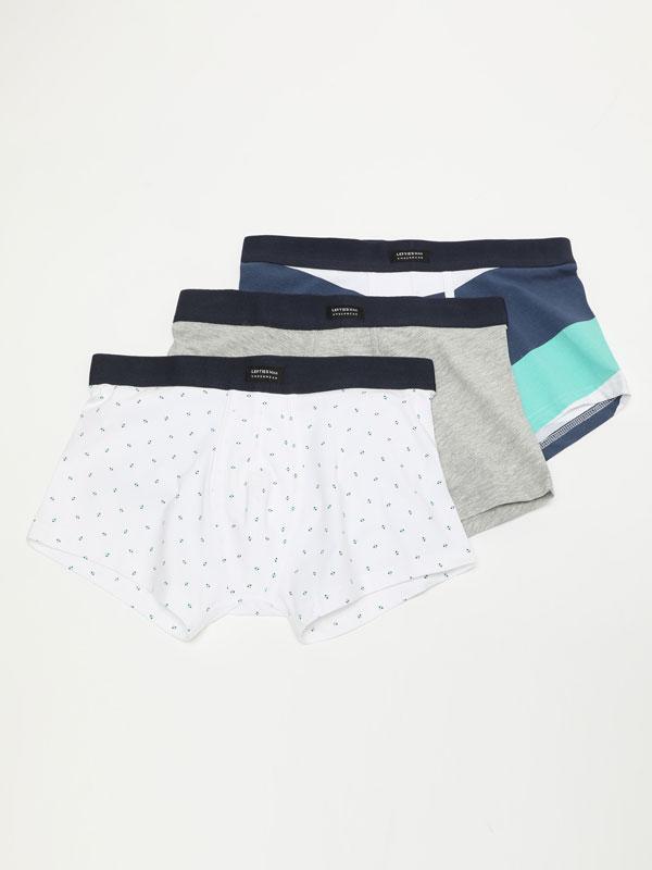 3-pack of printed boxers
