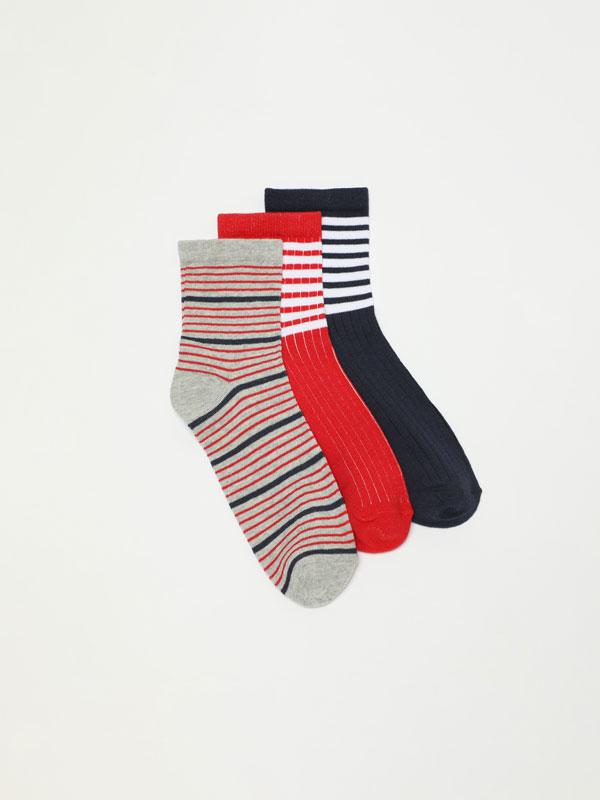 Pack of 3 pairs of printed long socks