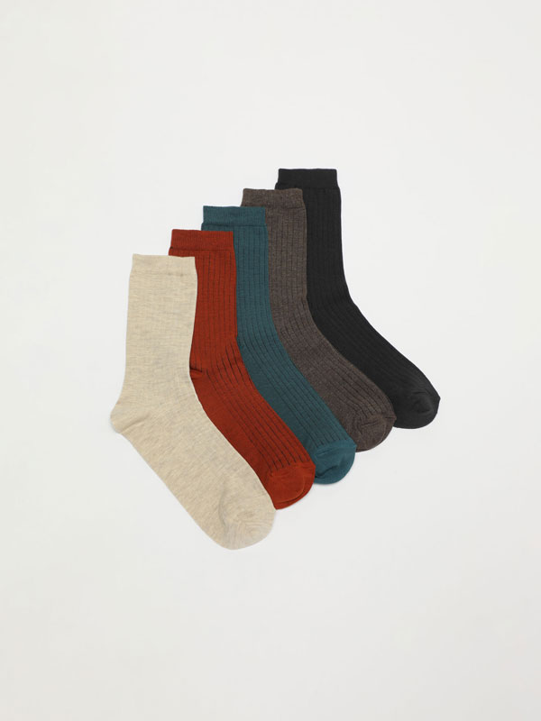Pack of 5 pairs of ribbed socks