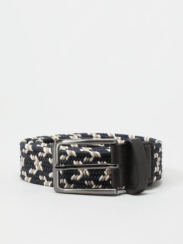 Contrast woven stretch belt.