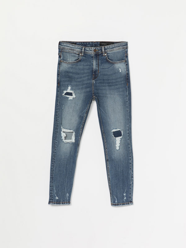 Ripped comfort carrot fit jeans