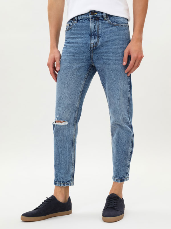 Cropped relaxed fit jeans