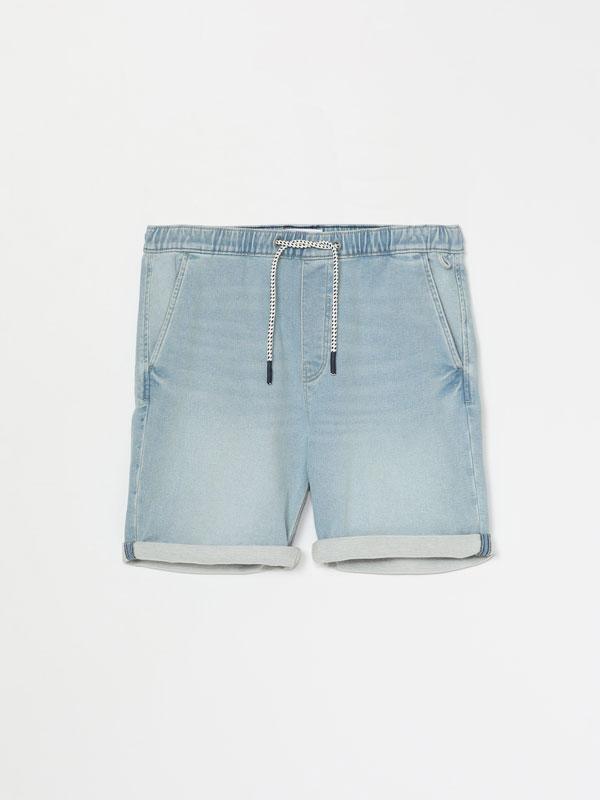 Denim jogger Bermuda shorts