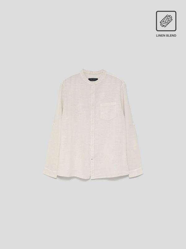 Camisa de lino - algodón de cuello mao