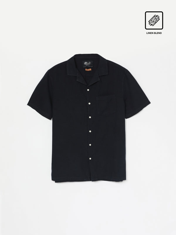 Camisa de Lino-algodón de manga corta