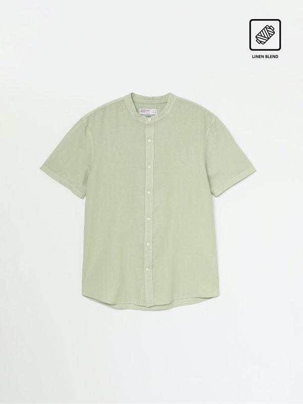 Camisa Lino - Algodón de cuello mao
