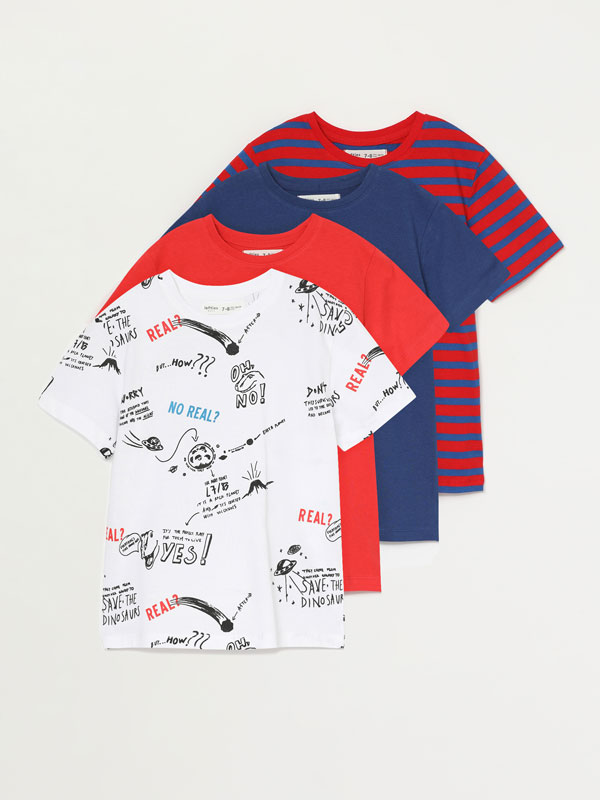 4-pack of contrast T-shirts