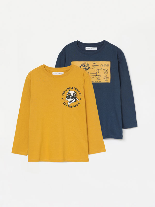 Pack of 2 printed long sleeve T-shirts