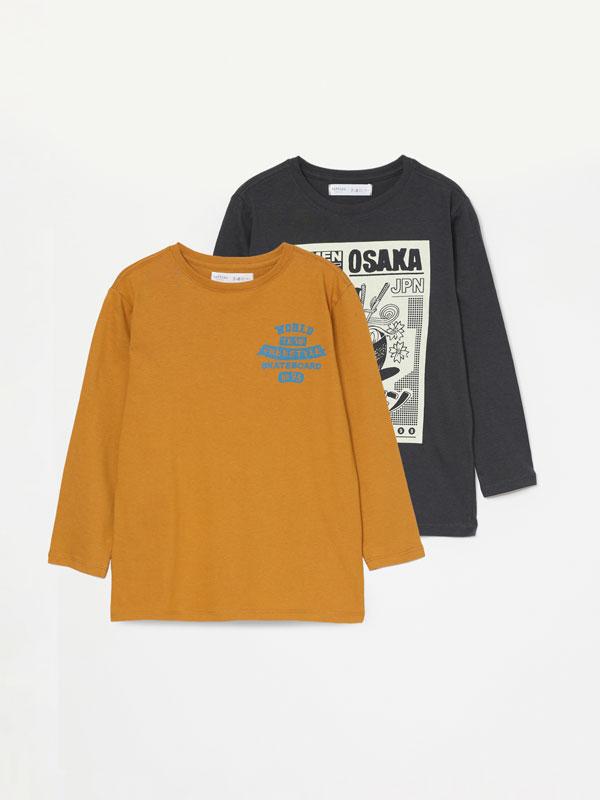Pack de 2 t-shirts estampadas de manga comprida