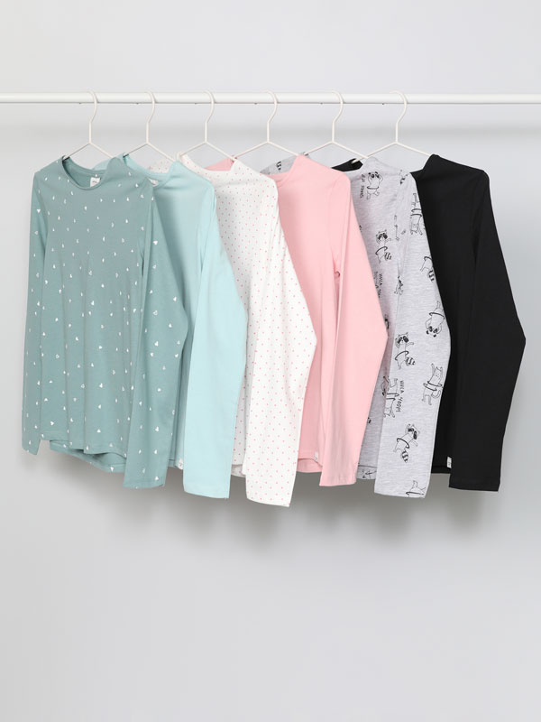 Pack of 6 basic plain and printed long sleeve T-shirts