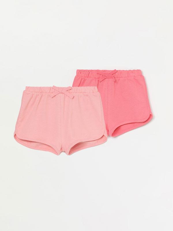 Pack de 2 pantalons curts de pelfa bàsics llisos