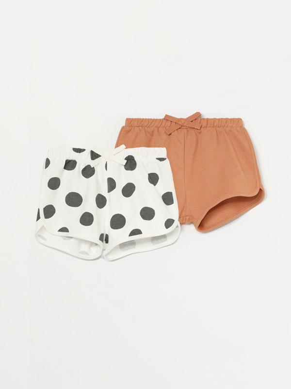 Pack de 2 pantalons curts bàsics en llis i estampat