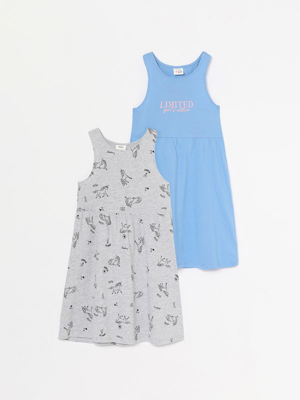 Pack of 2 basic printed strappy dresses