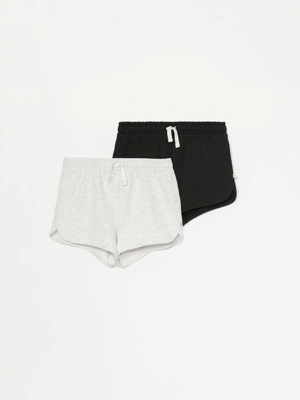 Pack of 2 basic plain plush shorts
