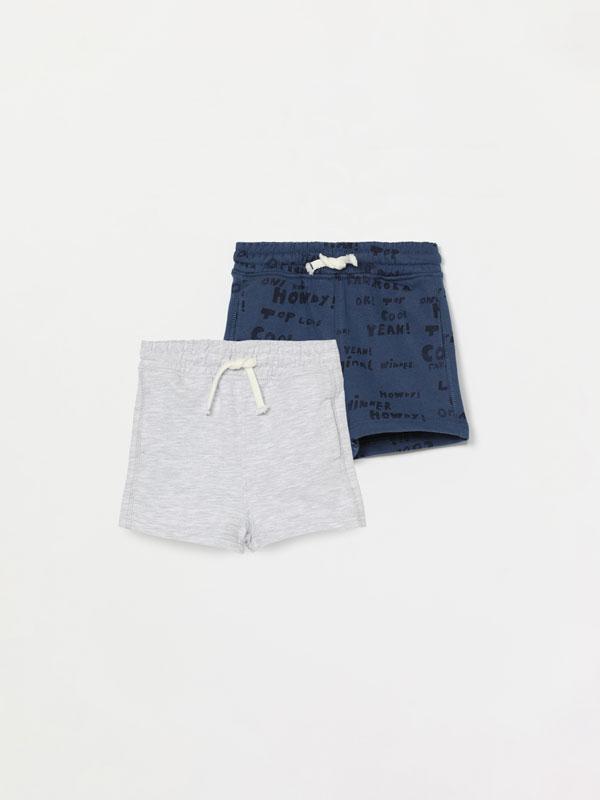 Pack de 2 pantalons curts llis i estampat de pelfa