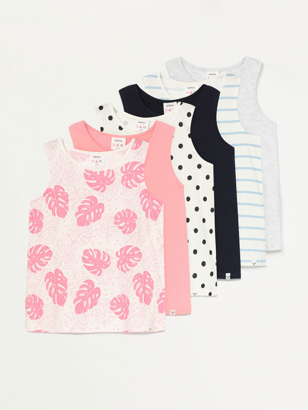 6-pack of printed and plain strappy tops