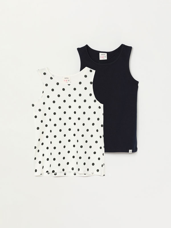 2-Pack of printed and plain strappy tops