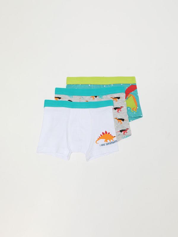 3-Pack of dinosaur print boxer shorts