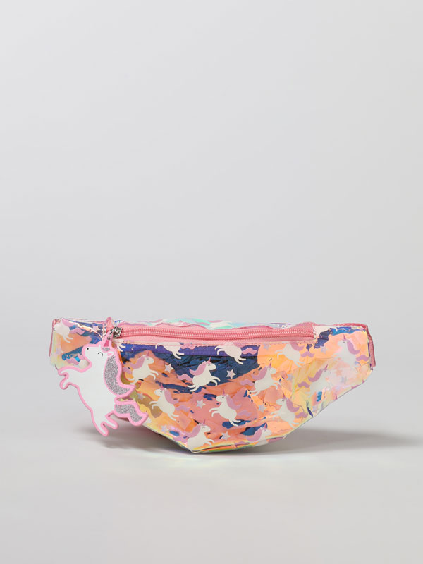 Iridescent unicorn belt bag