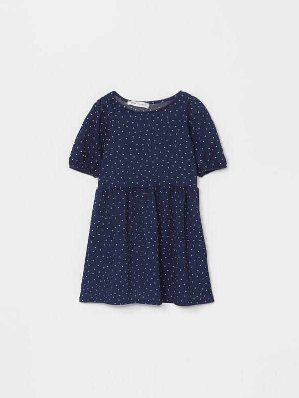 Textured printed midi dress