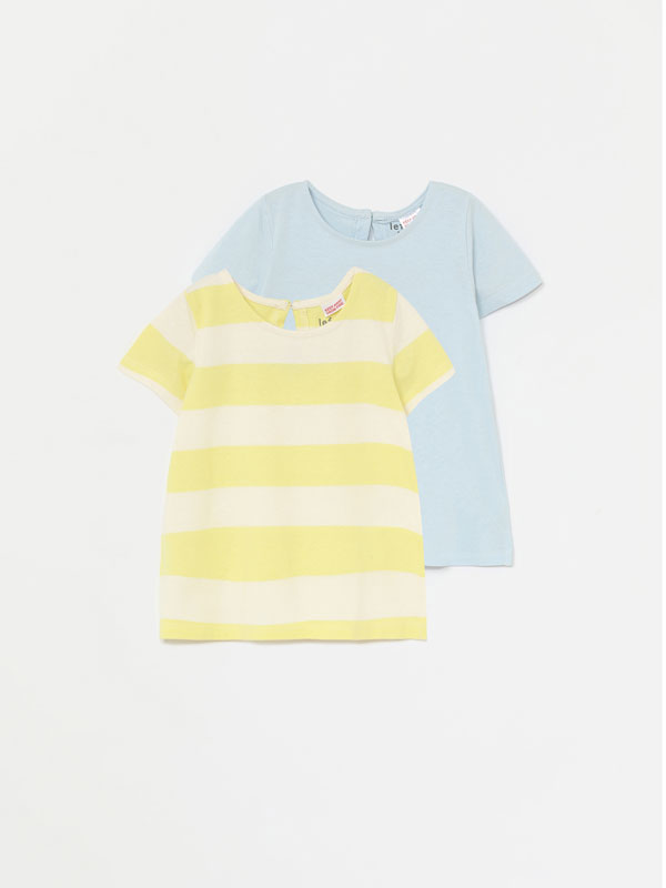 Pack of 2 basic plain and striped short sleeve T-shirts