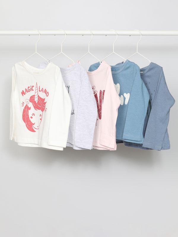 Pack de 5 camisetas básicas de manga longa