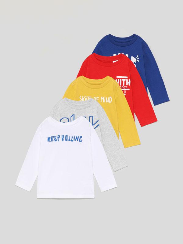 Paquet de 5 samarretes estampades de màniga llarga