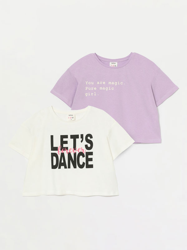 2-pack of coloured cropped T-shirts