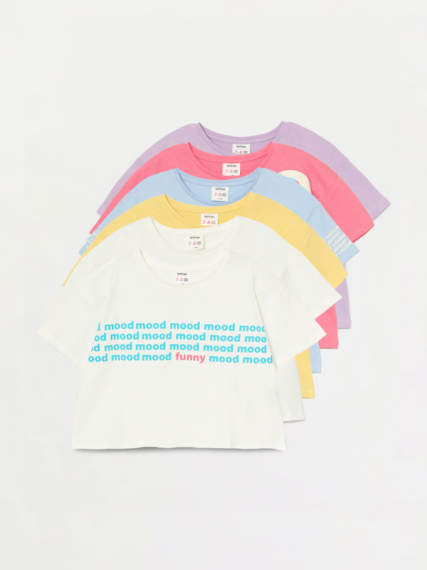 6-pack of coloured cropped T-shirts