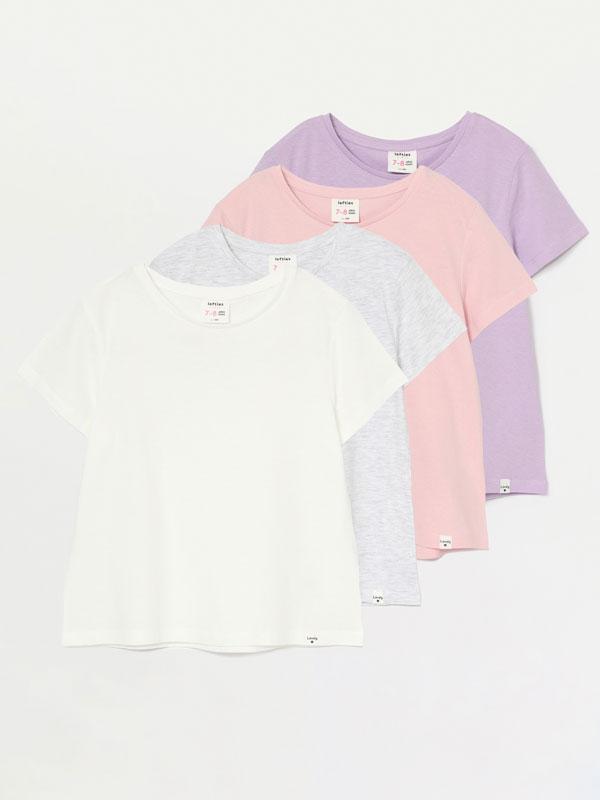 Pack de 4 camisetas lisas de manga corta