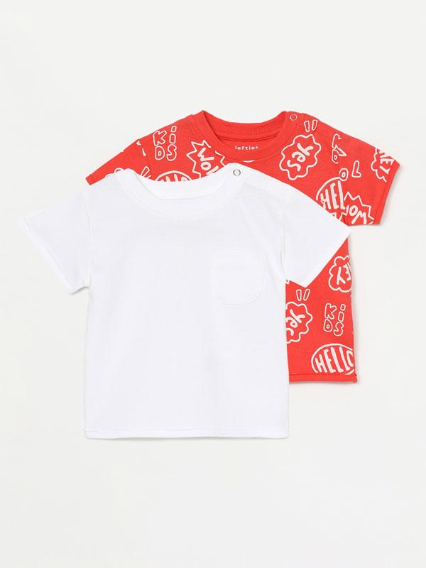 Pack de 2 camisetas básicas lisa e estampada de manga curta
