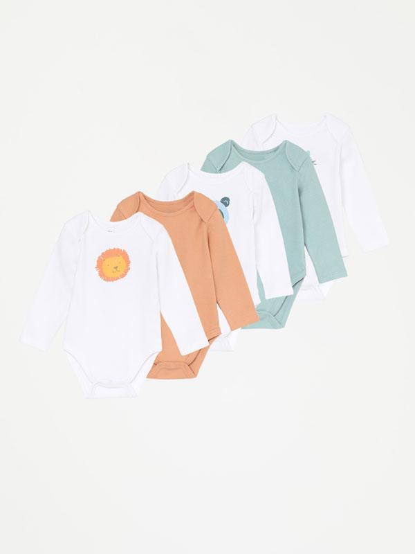 Pack of 5 printed long sleeve bodysuits