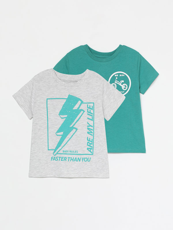 2-Pack of printed short sleeve T-shirts