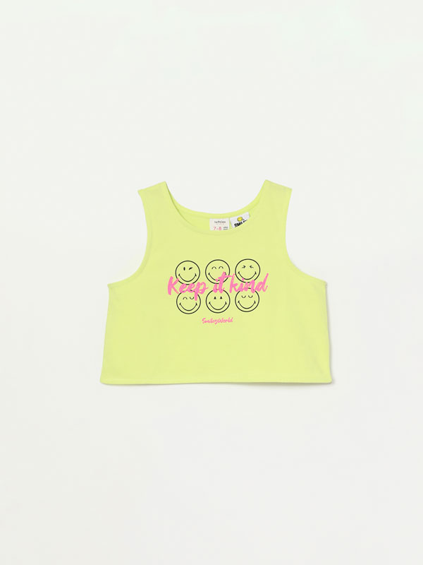 Camiseta cropped de tirantes de SmileyWorld®